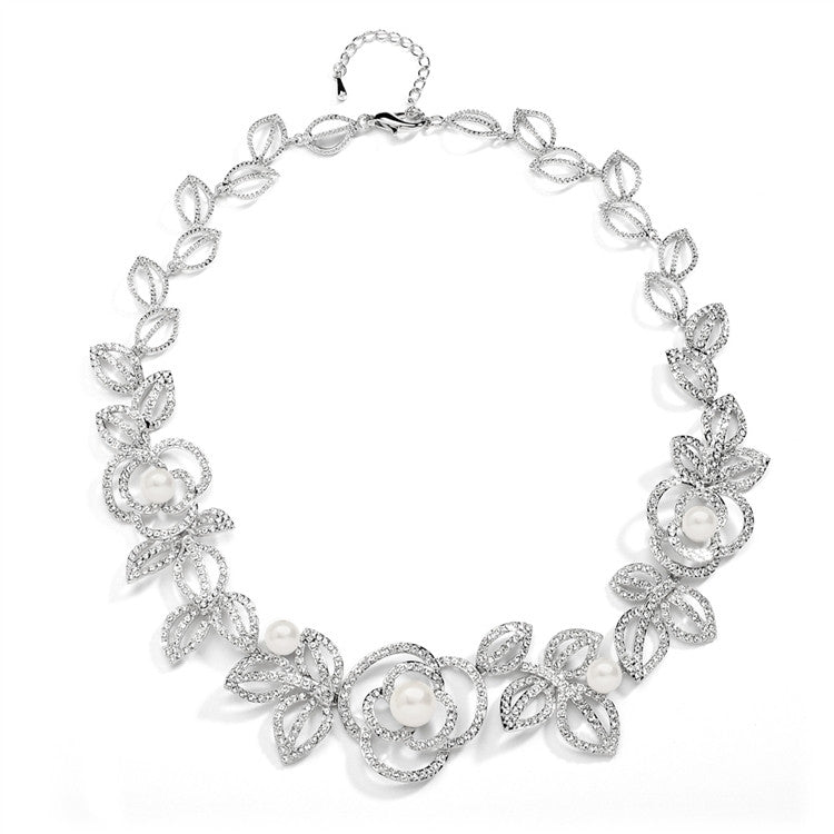 Designer Wedding Necklace with Cubic Zirconia and Pearl Flowers 4055N