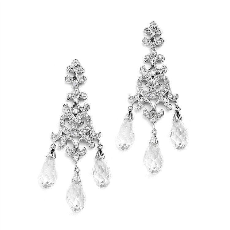 Crystal Teardrop Vintage Chandelier Earrings for Weddings, Proms or Bridesmaid 4070E