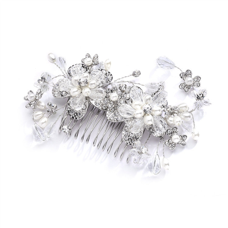 Fabulous Wedding or Brides Hair Comb with Pearl and Crystal Sprays 4071HC