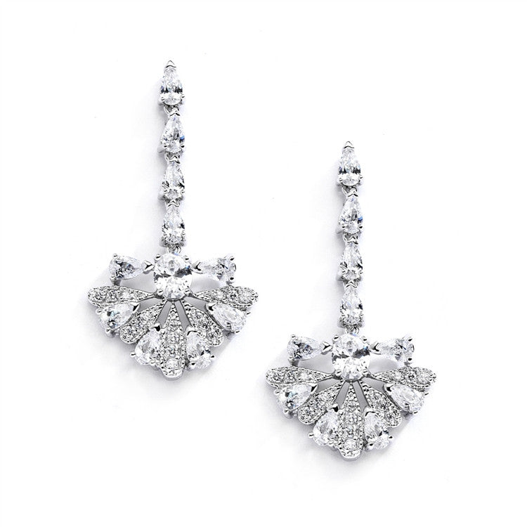 "Art Deco ""Fan"" Design Cubic Zirconia Wedding Earrings 4073E"