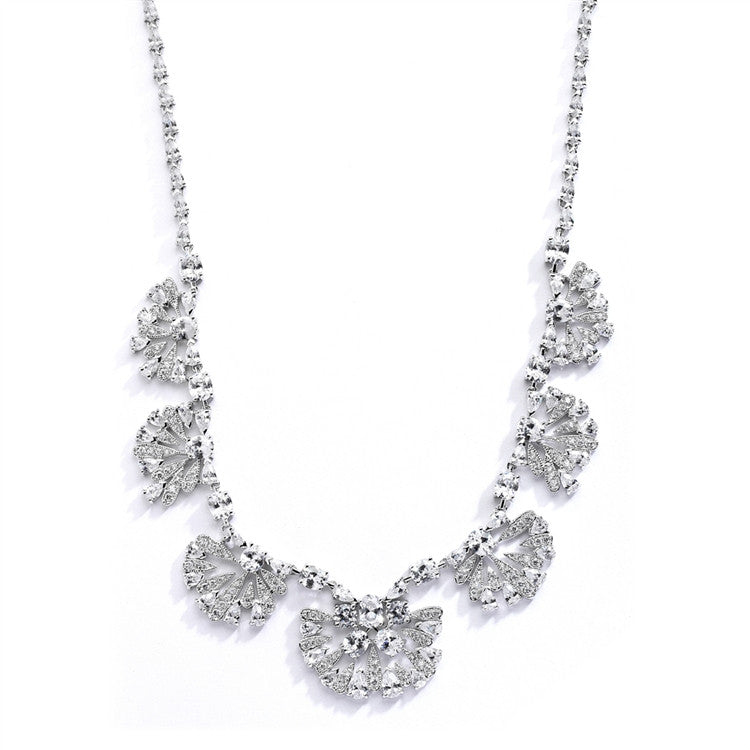 "Art Deco ""Fan"" Design Cubic Zirconia Wedding Necklace 4073N"