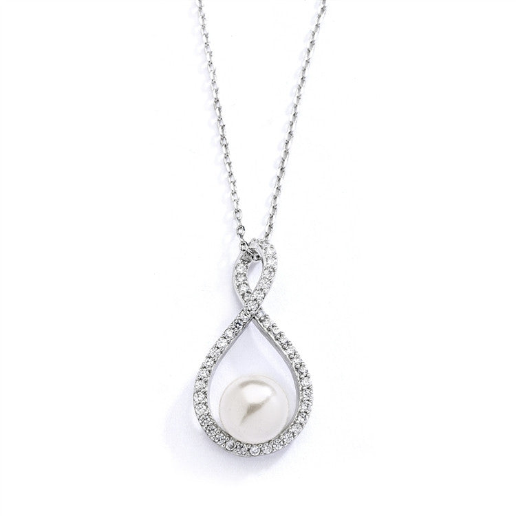Eternity Symbol  Cubic Zirconia Wedding Necklace with Pearl 4075N