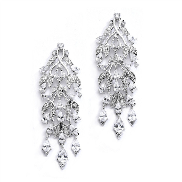 Cascading Cubic Zirconia Leaves Bridal or Bridesmaids Earrings 4077E