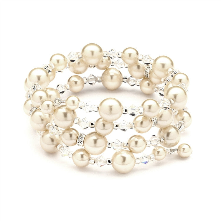 Adjustable Coil Pearl Wedding Bracelet 4080B