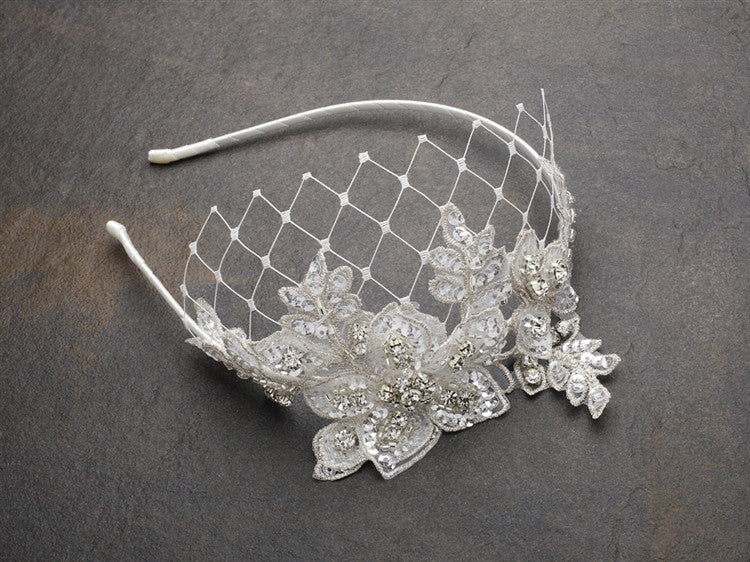 Luxurious Crystal Embellished Lace Wedding Headband with Wide Netting 4086HB