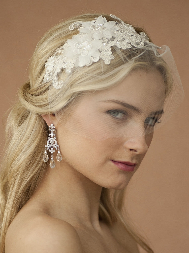 Handmade Wedding Headband with European Lace Applique & Petite Veil 4090HB