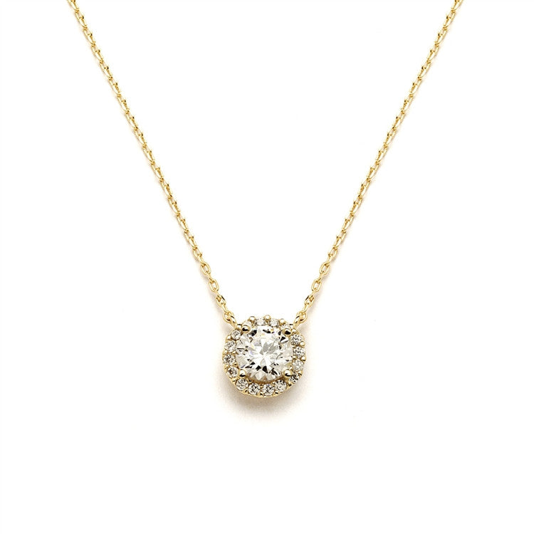 Delicate Cubic Zirconia Gold Pave Bridal Necklace 4095N
