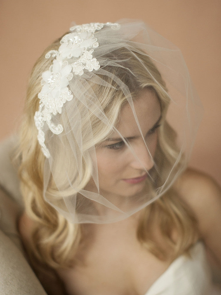Double Flower Lace Applique on Handmade Tulle Birdcage Blusher Veil 4100V