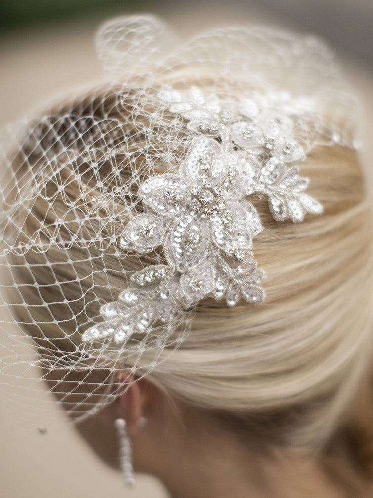 Bold Crystal Lace Applique Wedding Veil with French Net Birdcage Blusher & Scattered Crystal Edge 4103V