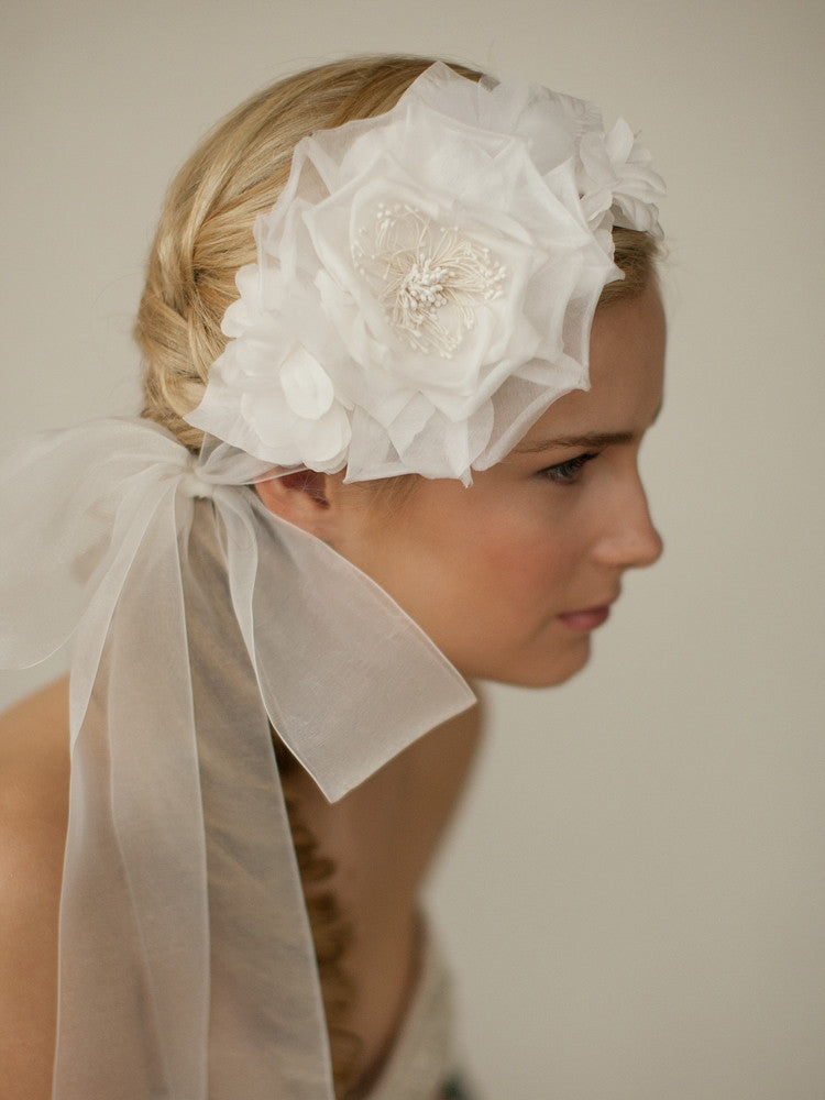 Handmade Silk Flower Bridal Headband with Wide Sheer Ribbon 4107HB