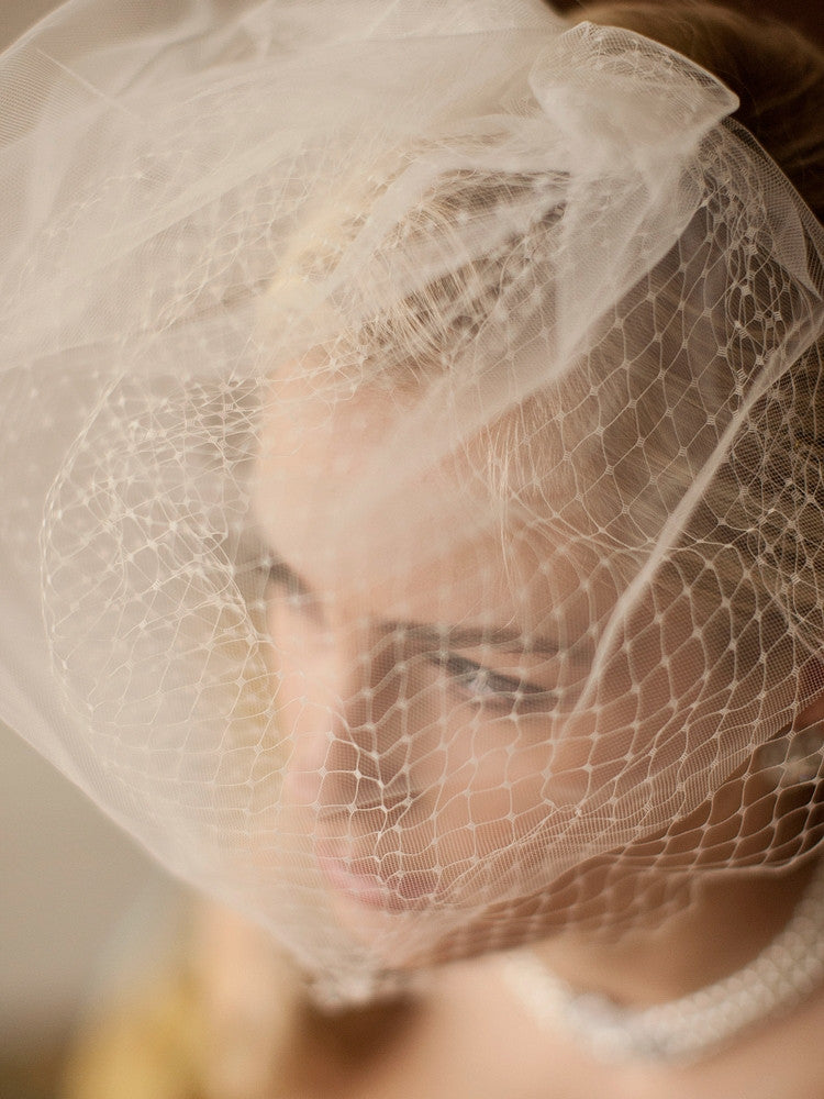 2-Layer Bridal Birdcage Veil with French Netting and Row of Tulle 4108V