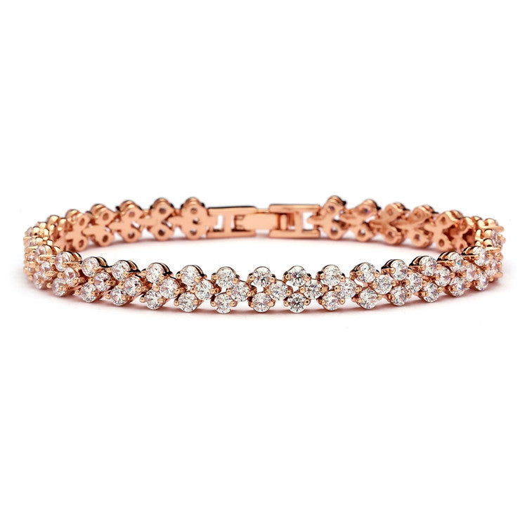 Elegant Rose Gold Cubic Zirconia Wedding or Prom Tennis Bracelet 4109B-RG-7