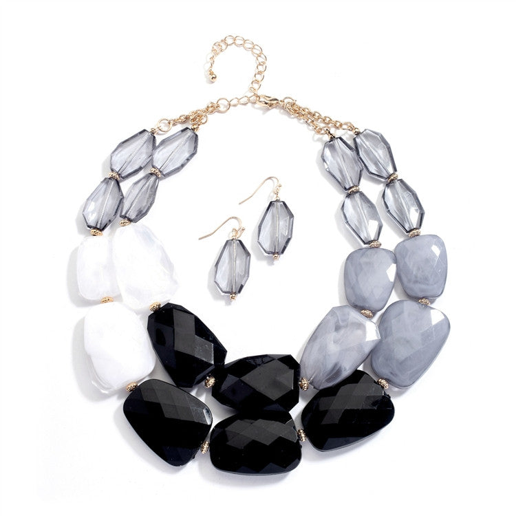 Chunky Statement Necklace & Earrings Set for Prom or Homecoming 4112S