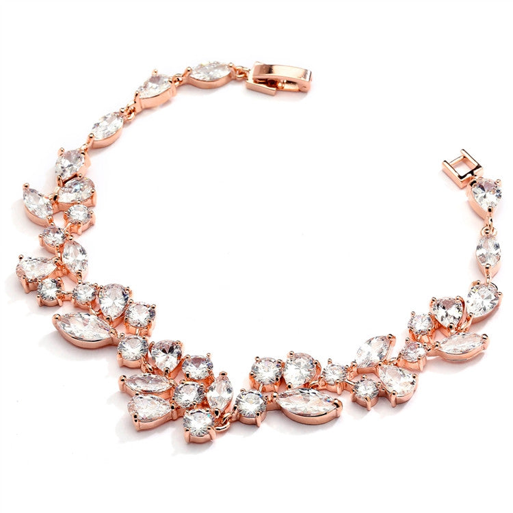 Rose Gold Mosaic Shaped CZ Wedding Bracelet in 14K Gold Plating 4129B-RG-7
