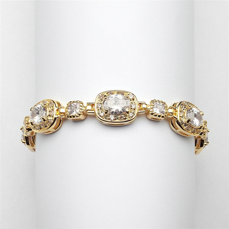 "Exclusive 6 1/2"" Designer CZ Bridal or Special Occasion Bracelet with Plating 4130B"