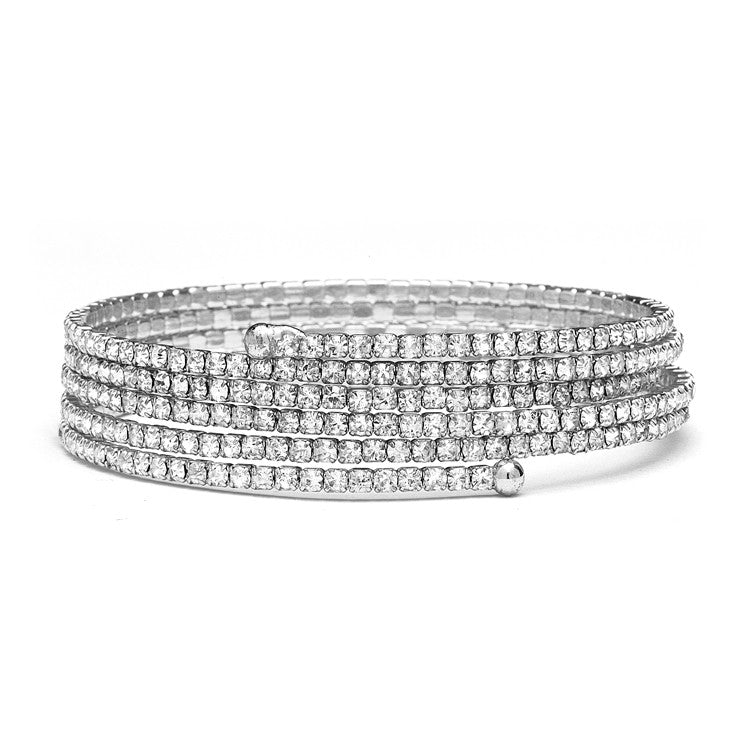 Stackable-Look Rhinestone Coil Bracelet 4132B-S