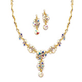 AB Crystal Bubbles Pave Necklace & Earrings Set 4150S