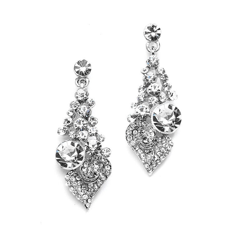 Intricate Crystal Prom or Bridesmaids Earrings with Abstract Heart