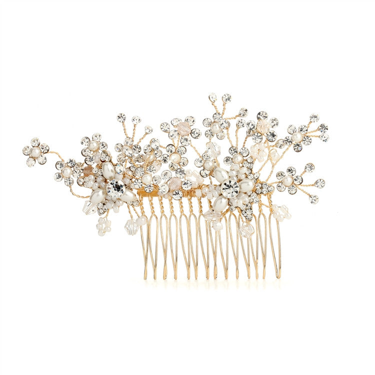 Golden Bridal Hair Comb with Cascading Crystal & Freshwater Pearl Flowers 4170HC