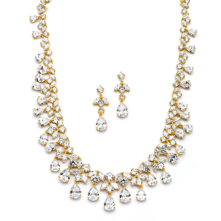 Spectacular Cubic Zirconia Statement Necklace Set 4171S