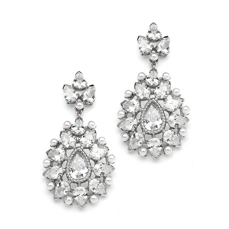 Cubic Zirconia Designer Bridal Earrings with Pearl Sunburst 4175E