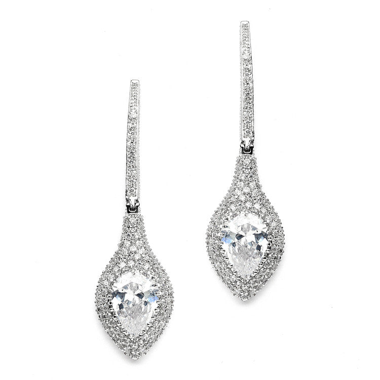 Art Deco Statement Earrings with Bold Pear & Pave CZ 4176E