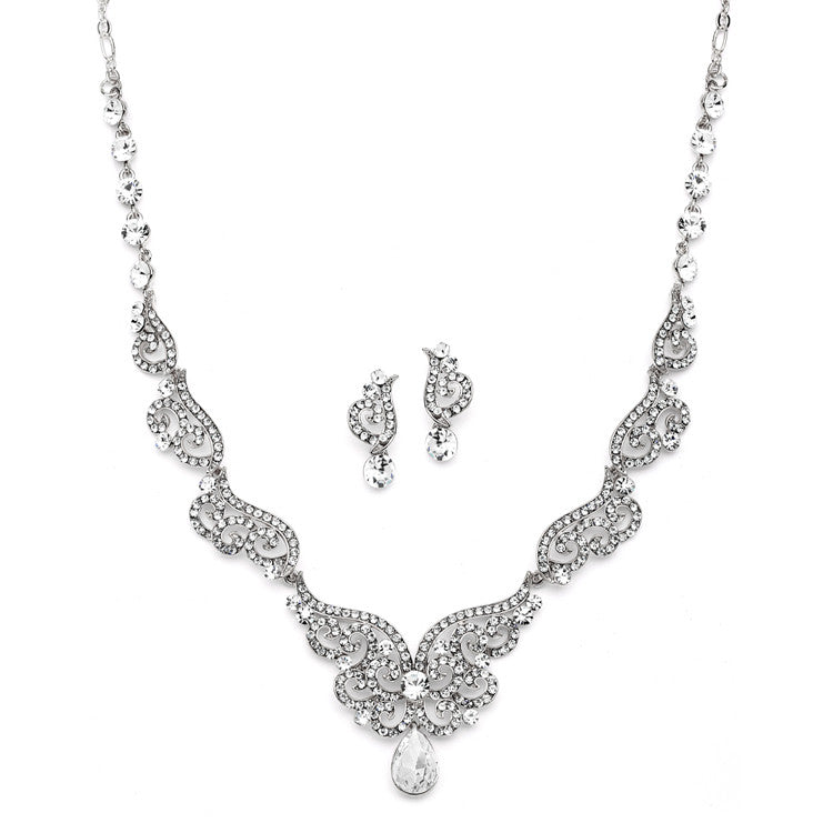 Art Deco Necklace & Earrings Set with Crystal Scrolls 4181S