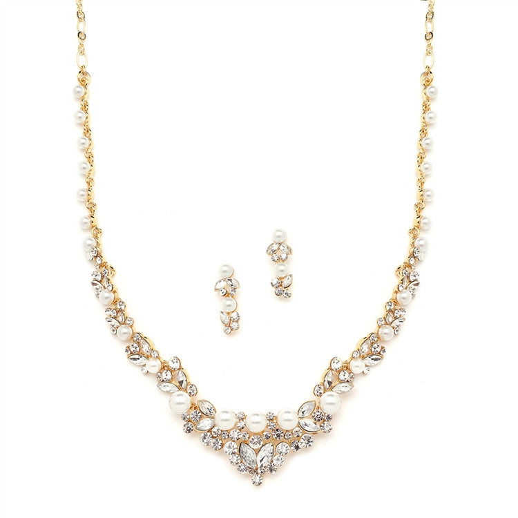 Elegant Wedding Necklace Set with Crystals & Pearl Cluster 4183S