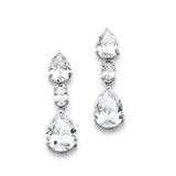 Shimmering Double Pear CZ Bridal or Bridesmaids Earrings 4200E