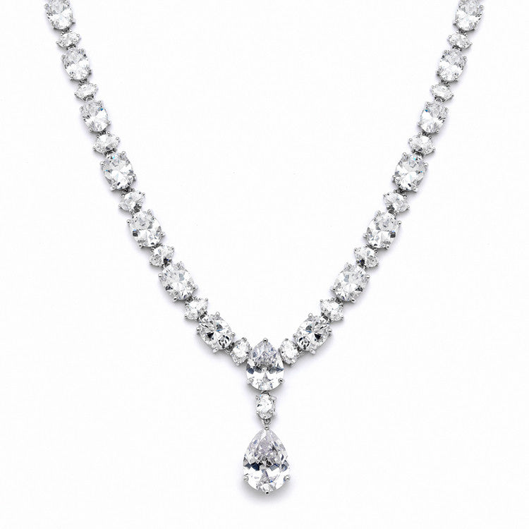 Shimmering Pear & Oval CZ Bridal Statement Necklace 4200N