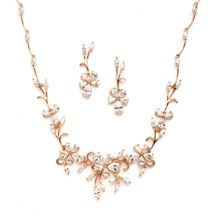 Elegant Vine CZ Necklace and Earrings Set for Weddings or Evening Wear 4233S