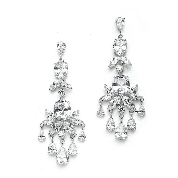 Breathtaking CZ Wedding or Pageant Chandelier Earrings 4234E