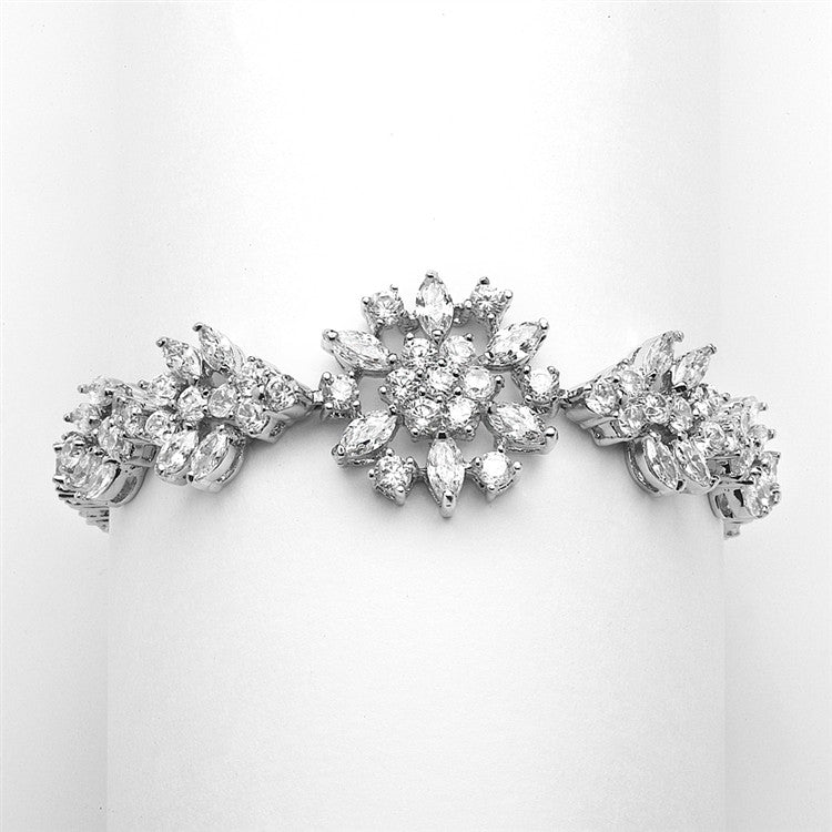 "Top Selling Marquis Cluster Wedding or Pageant Bracelet 6 7/8"" 4239B"