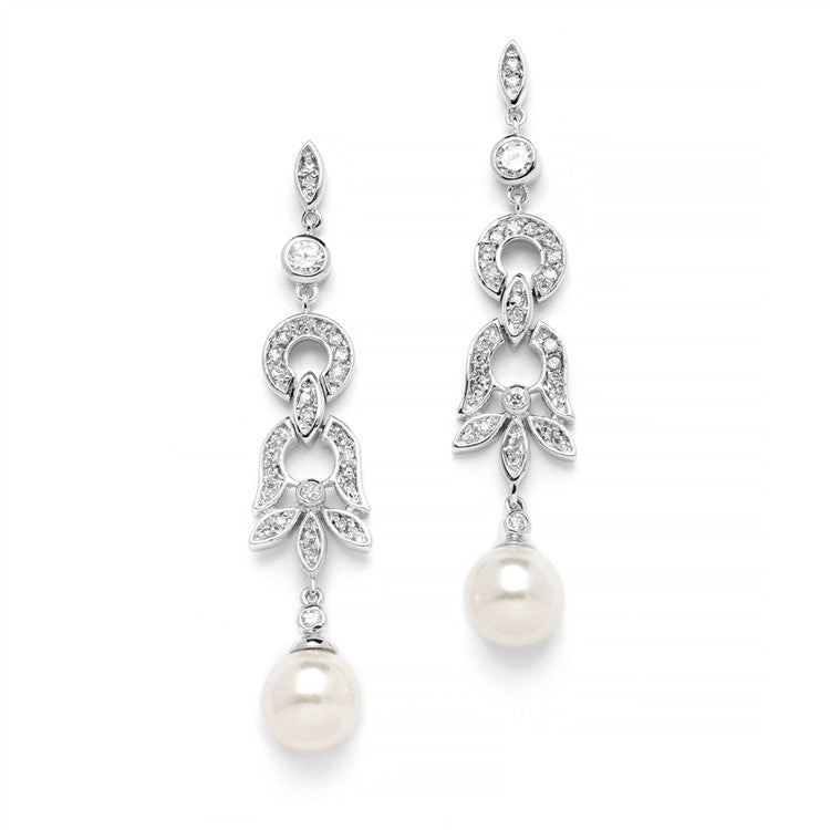Art Deco Pave CZ Bridal Earrings with Ivory Pearl Drops 4263E