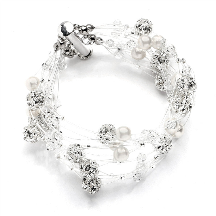Sarah's Special 8-Row Floating Pearl, Crystal and Rhinestone Fireball Illusion Bridal Bracelet 4265B-8-I-CR-S