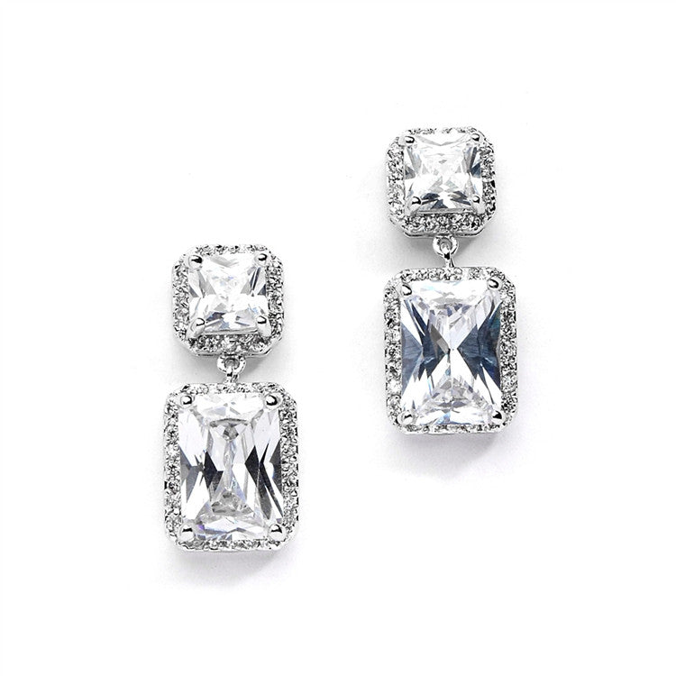 Classic CZ Wedding Earrings with Princess Cut Tops and Emerald Cut Drops 4273E