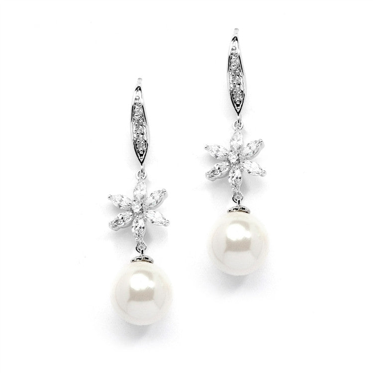 Soft Cream Pearl Dangle Bridal Earrings with CZ Flowers 4275E