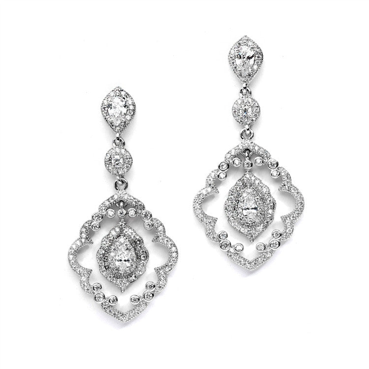 Top Selling Art Deco Bridal Earrings with Vintage Pave CZ Dangles 4288E