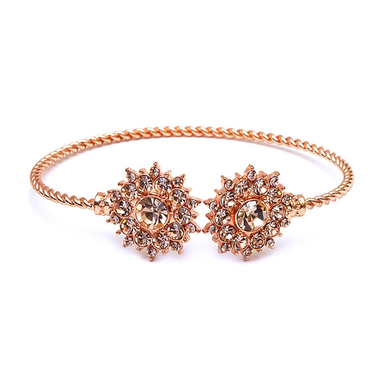 Rose Gold Crystal Sunburst Cuff Bracelet 4297B-RG