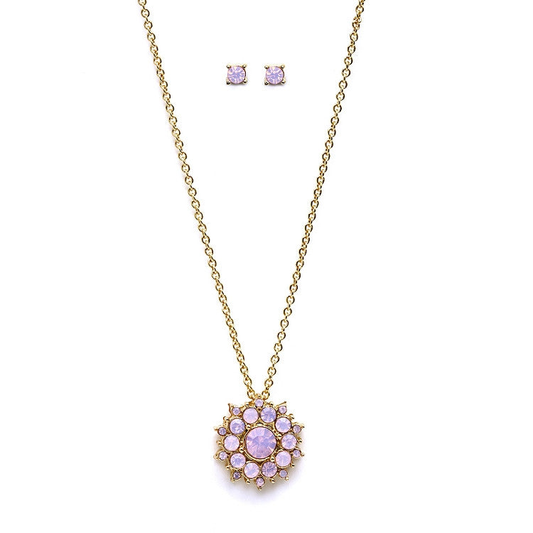 Pink Opal Sunburst Pendant & Stud Earrings Set for Bridemaids and Prom 4297S-PK-G