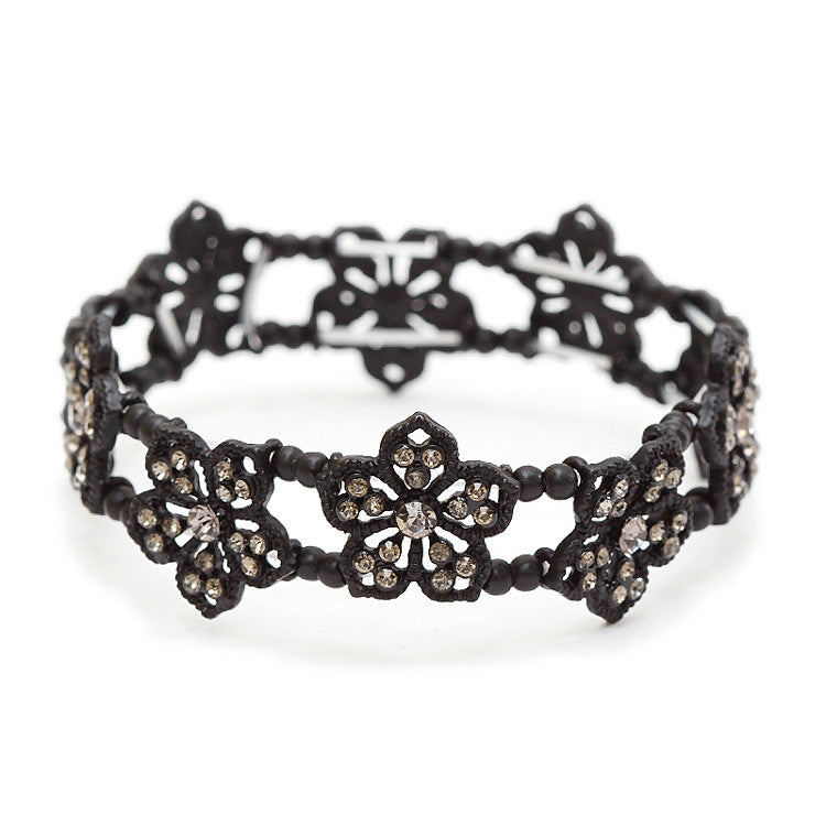 Black Diamond Filigree Flowers Stretch Bracelet for Prom or Homecoming 4301B-BD