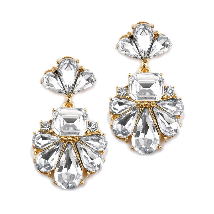 Dramatic Icy Pear Cluster Statement Earrings for Wedding or Prom 4339E