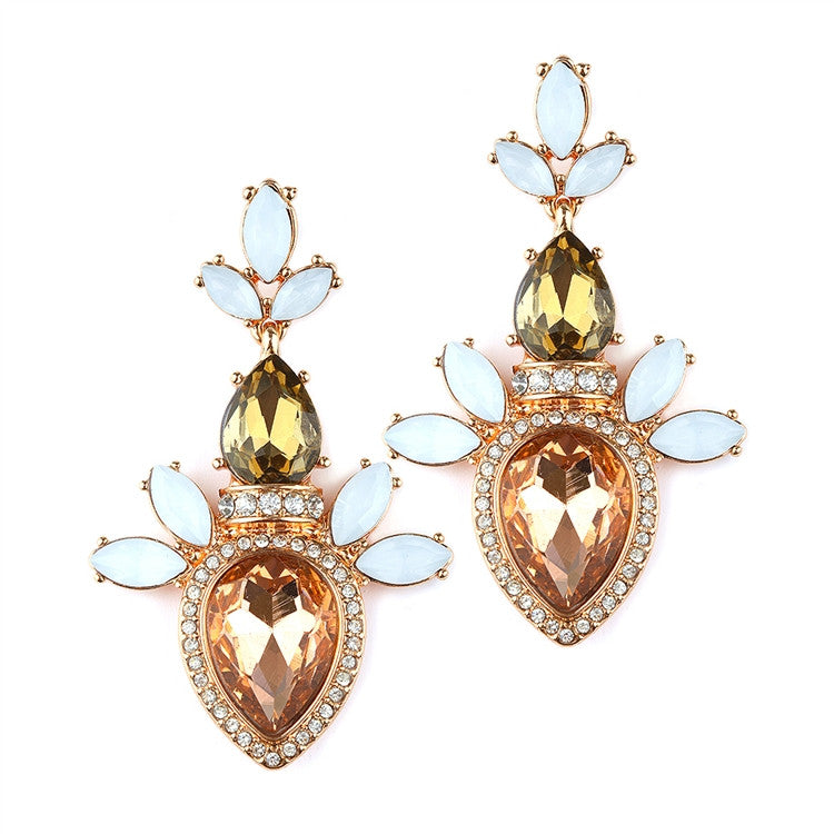 Trending Champagne Cluster Statement Earrings 4340E-CH-RG
