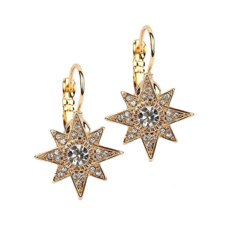 Celestial Stars Prom or Bridesmaids Gold Euro Wire Earrings
