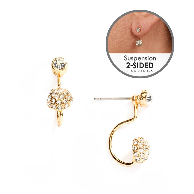 Sophisticated Pave Crystal Suspension Earrings in Gold 4351E-G