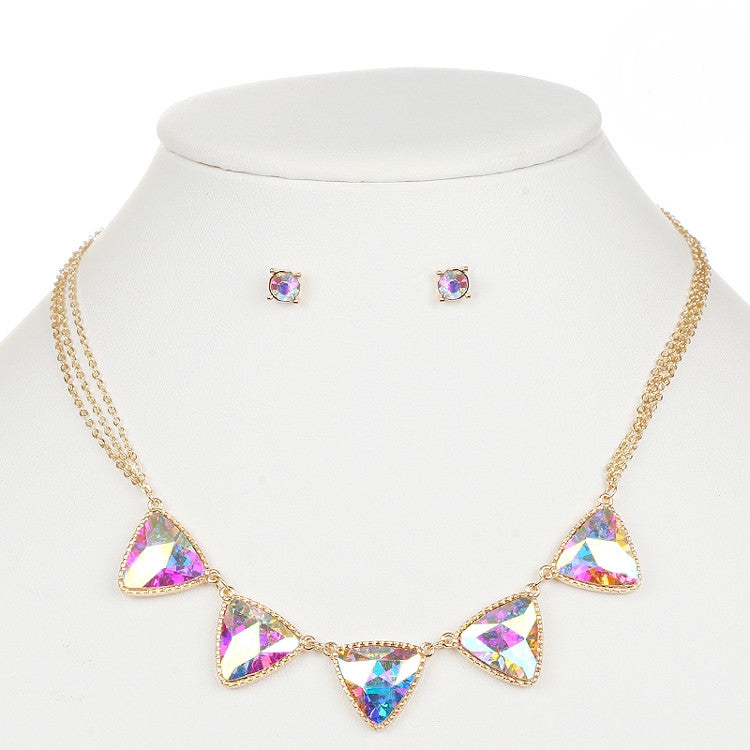 Iridescent AB Triangles Gold Necklace and Earrings Set 4355S-AB