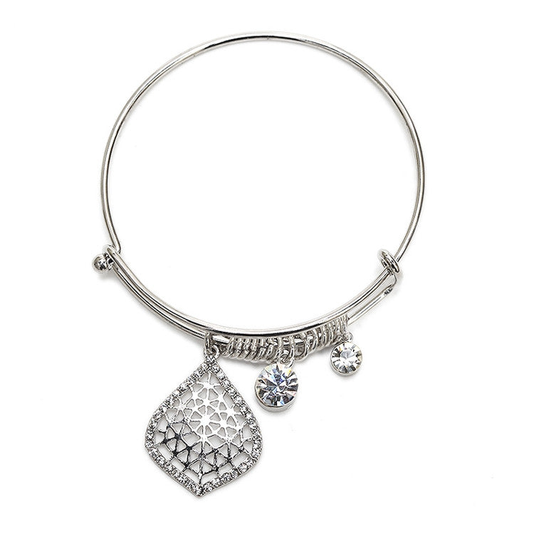 Wire Bangle Charm Bracelet with Crystal Filigree 4358B-S