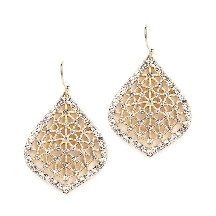 Delicate Filigree and Crystal Gold Dangle Earrings