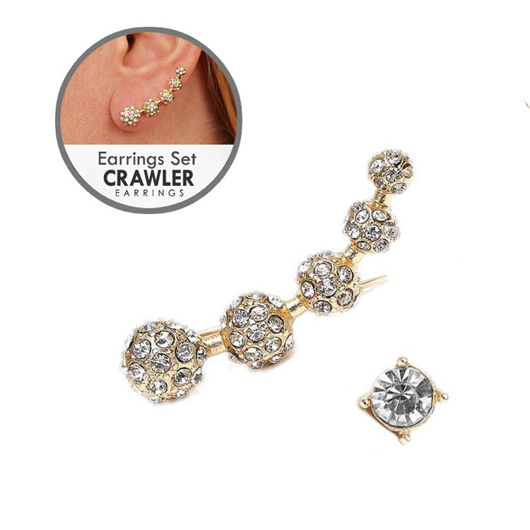 Crystal Pave Ball Ear Crawler Set