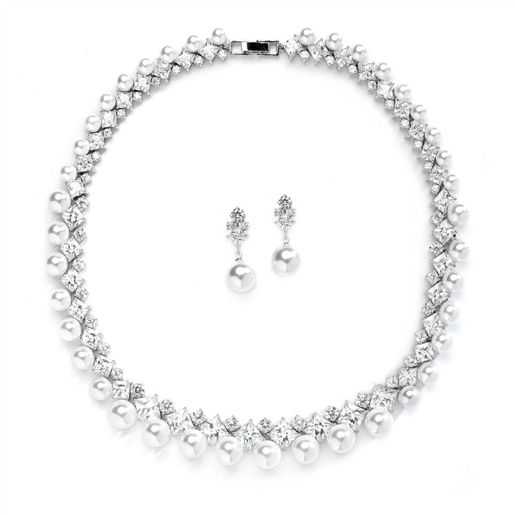 Glamorous CZ and White Pearl Wedding Necklace and Earrings Set 4367S-W-S